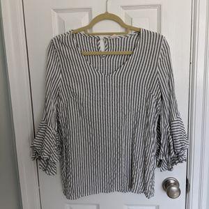 Pinkblush gray striped ruffle sleeve top
